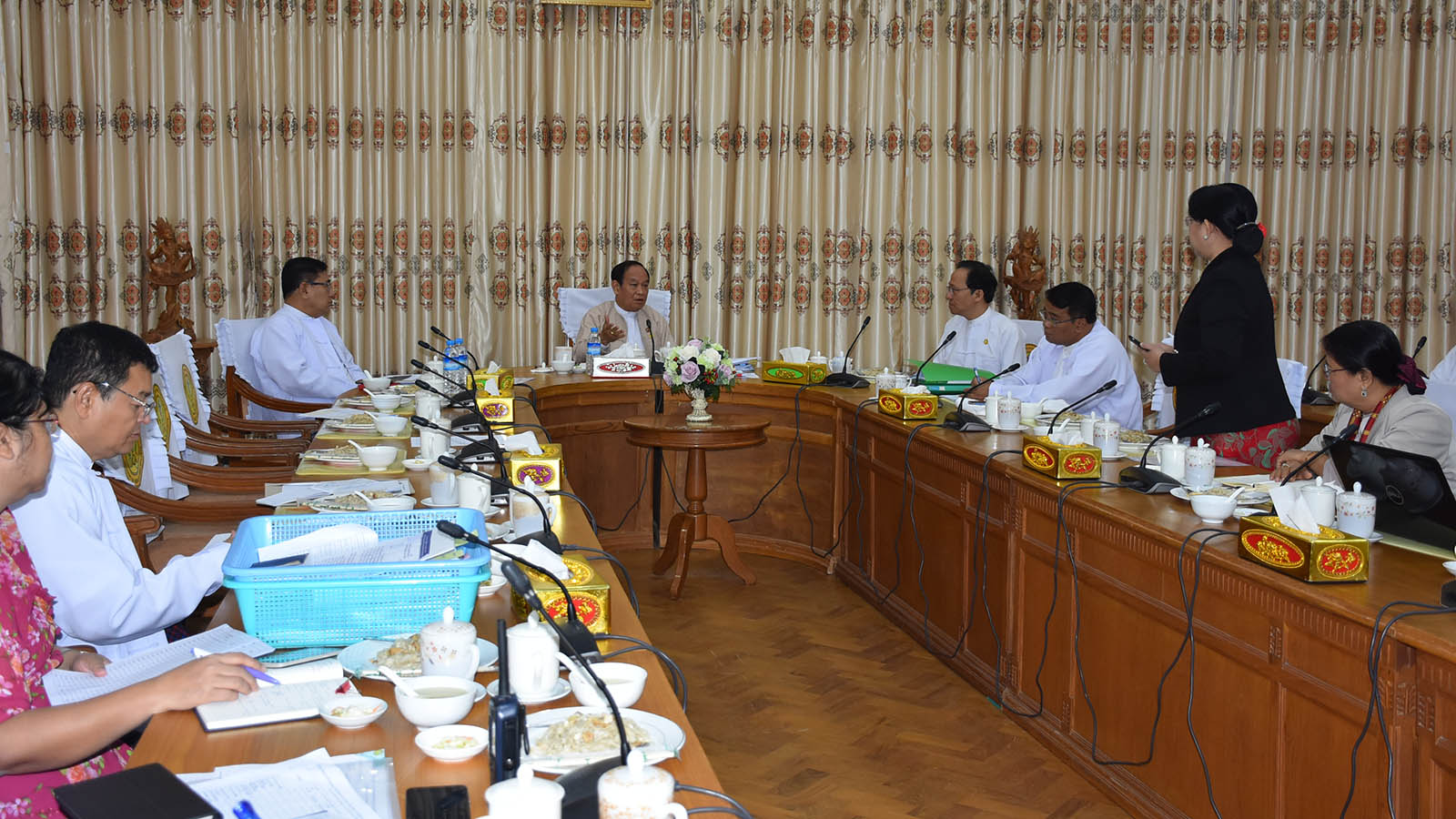 Union Minister Dr Myint Htwe attends the daily meeting 15/2020 for prevention Coronavirus. Photo: MNA