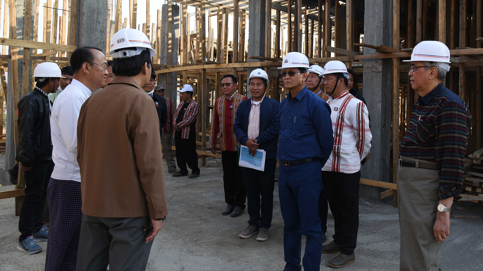 Vice President U Henry Van Thio inspects the construction of Thantlang People's Hospital. Photo:MNA