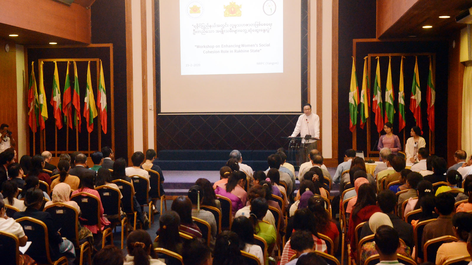 Deputy Minister U Min Lwin delivers the speech at the opening ceremony of the Workshop on Enhancing Women's Social Cohesion Roles in Rakhine State yesterday. Photo: MNA