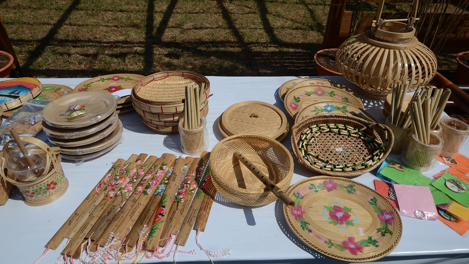 Handmade bamboo products displayed in a market. Photo: Phoe Khwar
