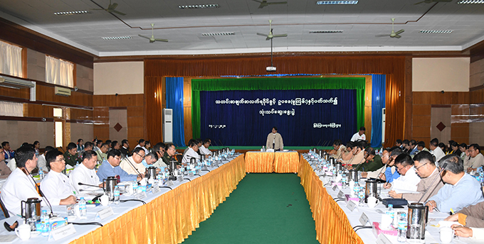 Union Minister Dr Pe Myint addresses the coordination meeting on reviewing the Right to Information Bill in Nay Pyi Taw yesterday. Photo: MNA