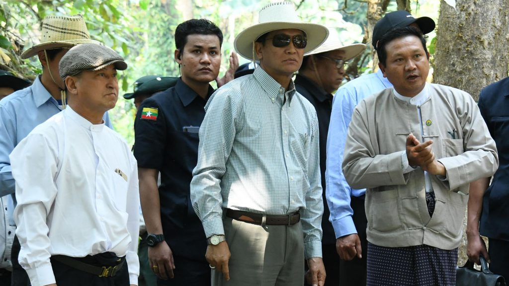 Vice President U Henry Van Thio visits the Nantmongyi Falls in Pinlaung Township, Shan State yesterday.Photo: MNA
