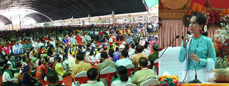 State Counsellor Daw Aung San Suu Kyi delivers the speech at the meeting with local people in Myawady.Photo: MNA
