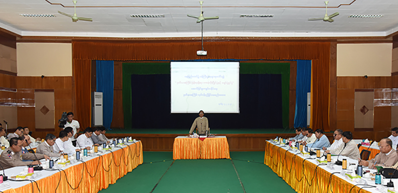 Deputy Minister for Information U Aung Hla Tun addresses the second coordination meeting for holding the 2nd Htamane making competition in Nay Pyi Taw yesterday.Photo: MNA