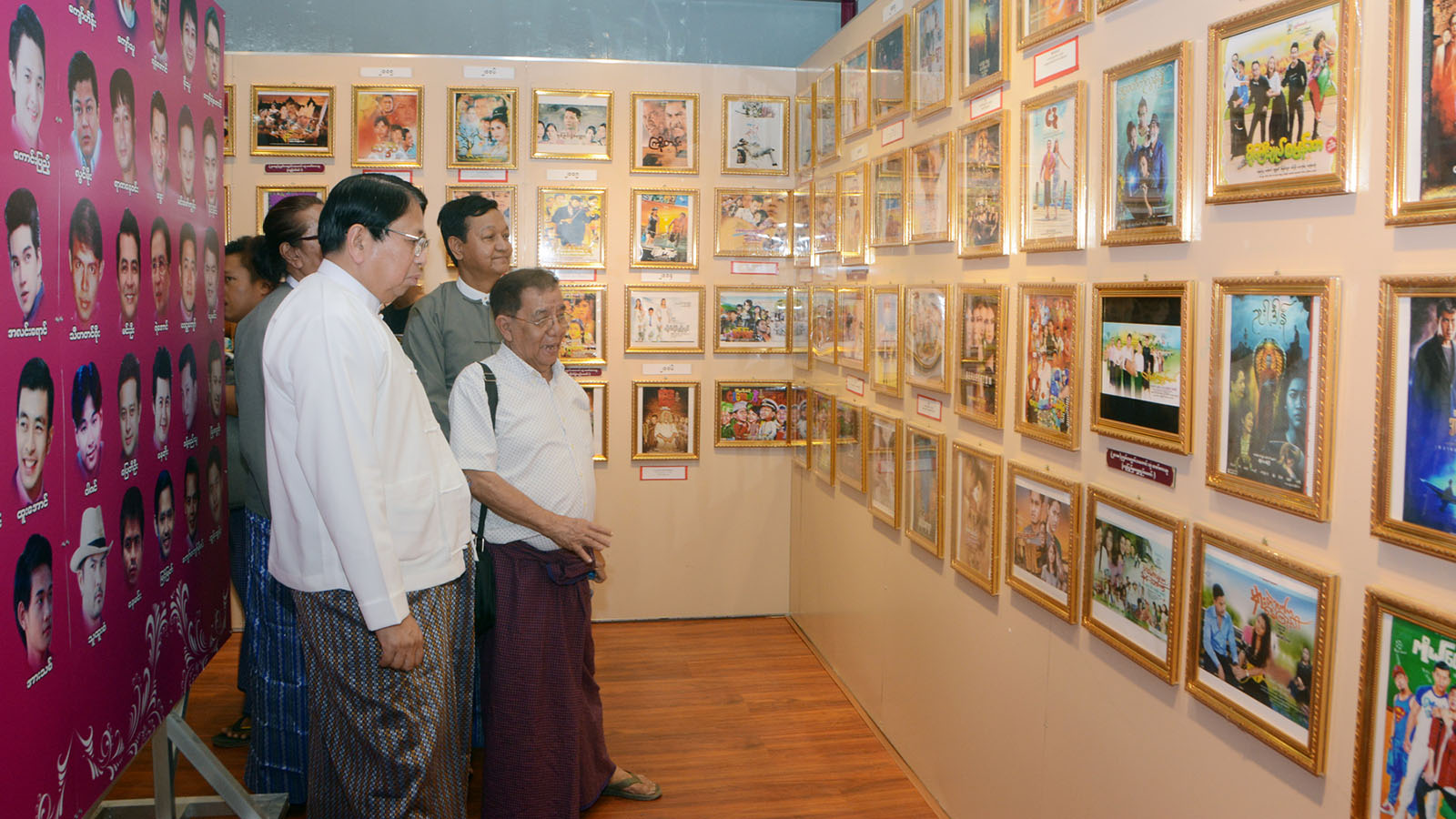 Union Minister Dr Pe Myint visits the Myanmar Motion Picture Museum in Yangon yesterday. Photo:MNA