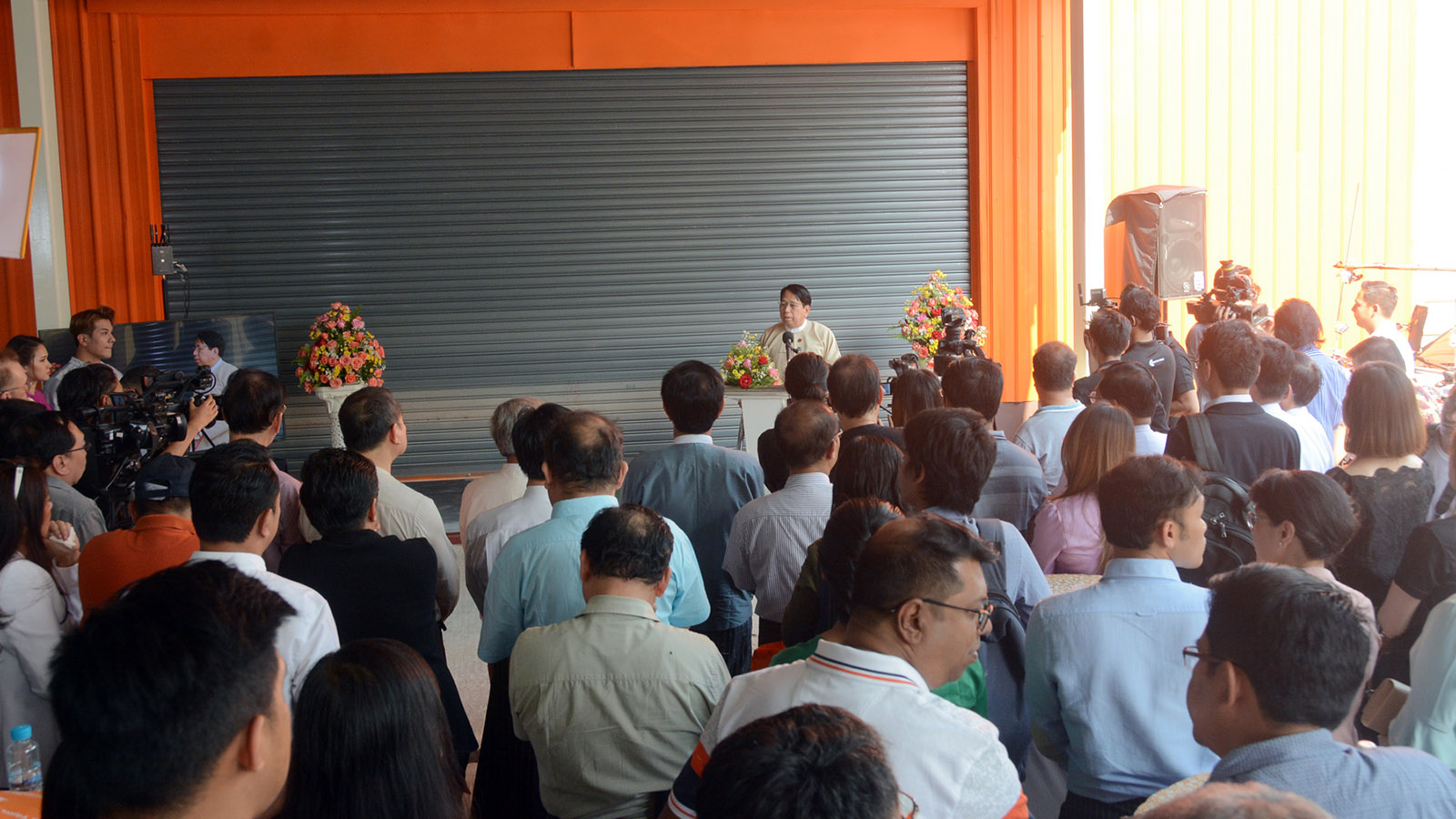 Union Minister Dr Pe Myint delivers the speech at the  launching ceremony of the movie and television production aid provider of CMB Films Myanmar Co; Ltd in Yangon yesterday.Photo: MNA