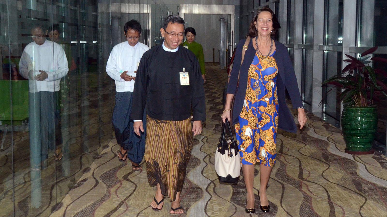 UN Secretary-General's Special Envoy on Myanmar, Ms Christine Schraner Burgener, being seen off by Director-General U Aung Myo Myint. Photo: MNA