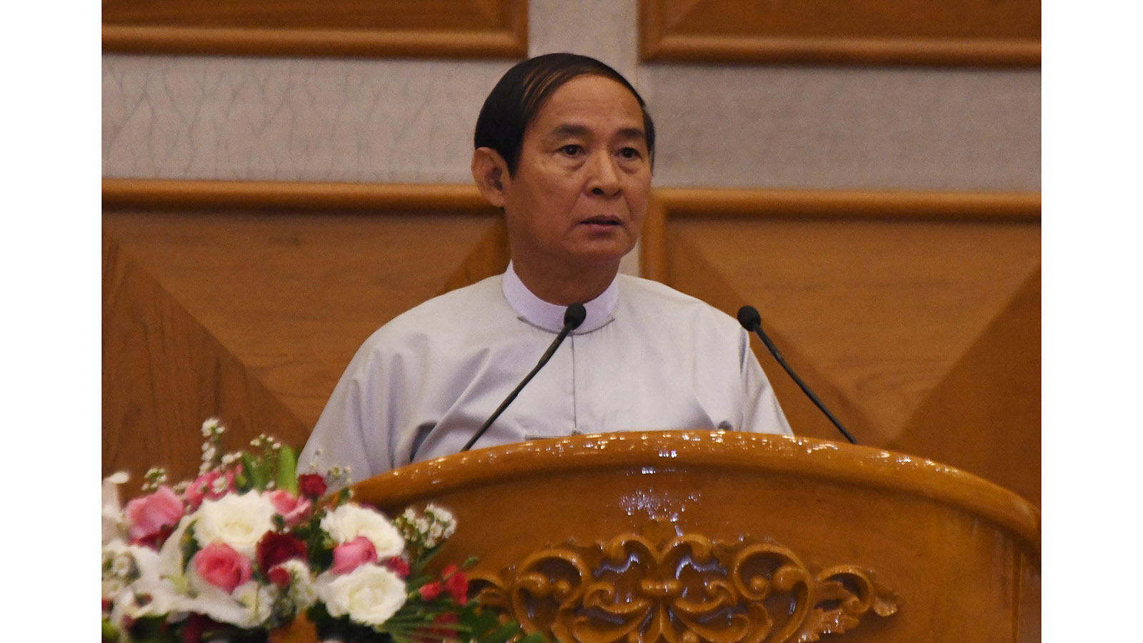 President U Win Myint delivers the speech at the ceremony to mark the 4th anniversary of Second Hluttaw in Nay Pyi Taw yesterday.Photo:MNA