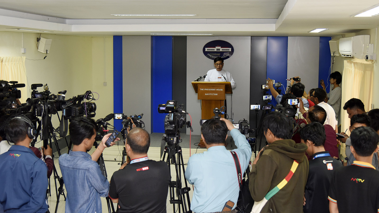 Director-General U Zaw Htay answers the questions raised by journalists during the press conference. Photo:MNA