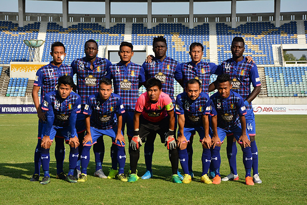 Hantharwady United squad seen before playing a Myanmar National League match. Photo:HUFC
