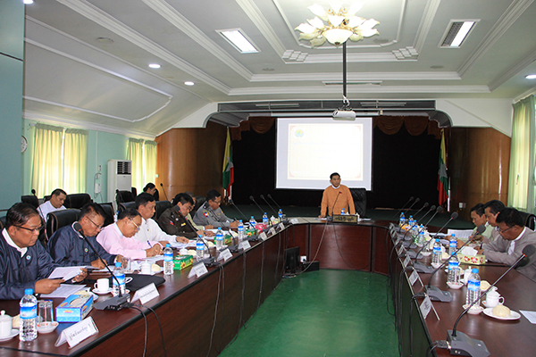 Bago Chief Minister U Win Thein addresses the coordination meeting on hotels and tourism development at the Bago regional government office on 19 February.Photo: Tin Soe (Bago)