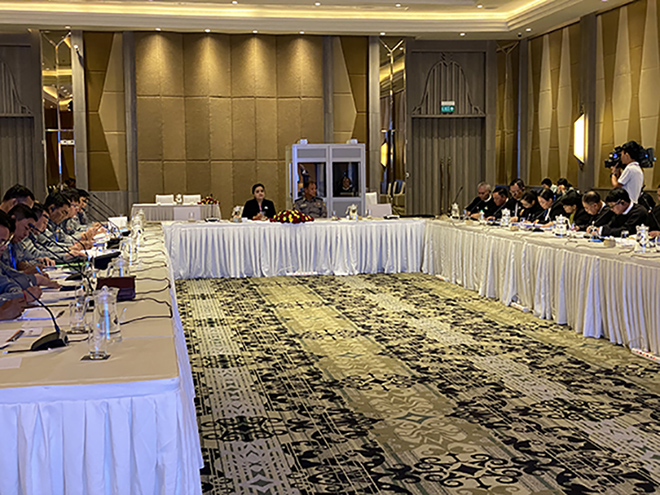 Officials from the Myanmar Police Force and the Union Attorney-General Office attend the workshop for prosecutions in human trafficking cases in Nay Pyi Taw.Photo: MNA