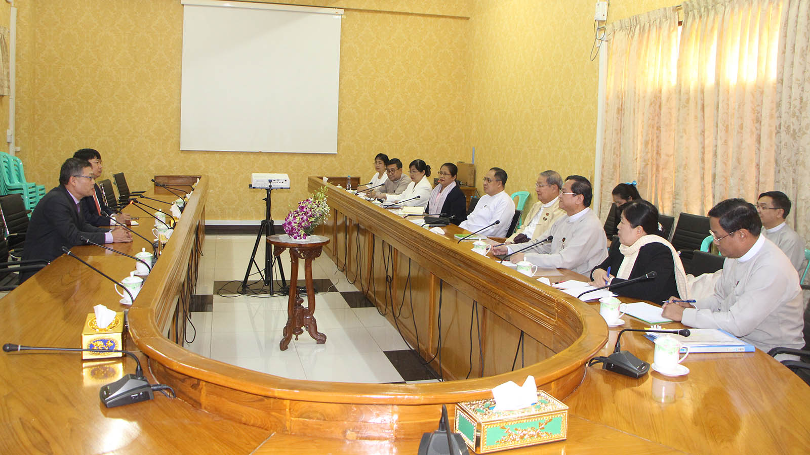 Union Minister U Soe Win holds talk with Vietnamese Ambassador Mr Ly Quoc Tuan in Nay Pyi Taw yesterday.Photo: MNA