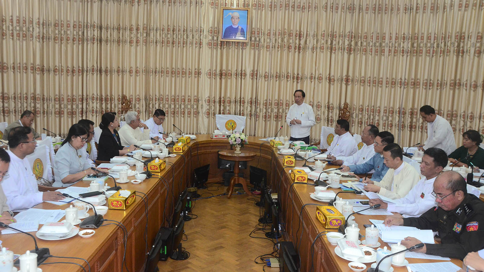 A meeting on prevention for Coronavirus Disease 2019 (COVID-19) held on 25 February 2020.Photo: MNA