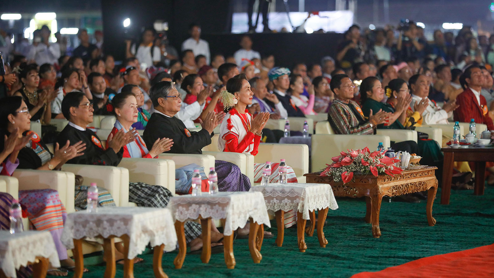 State Counsellor Daw Aung San Suu Kyi enjoys the performance of ethnic people at the Ethnics Cultural Festival-2020 in Yangon yesterday. Photo: MNA