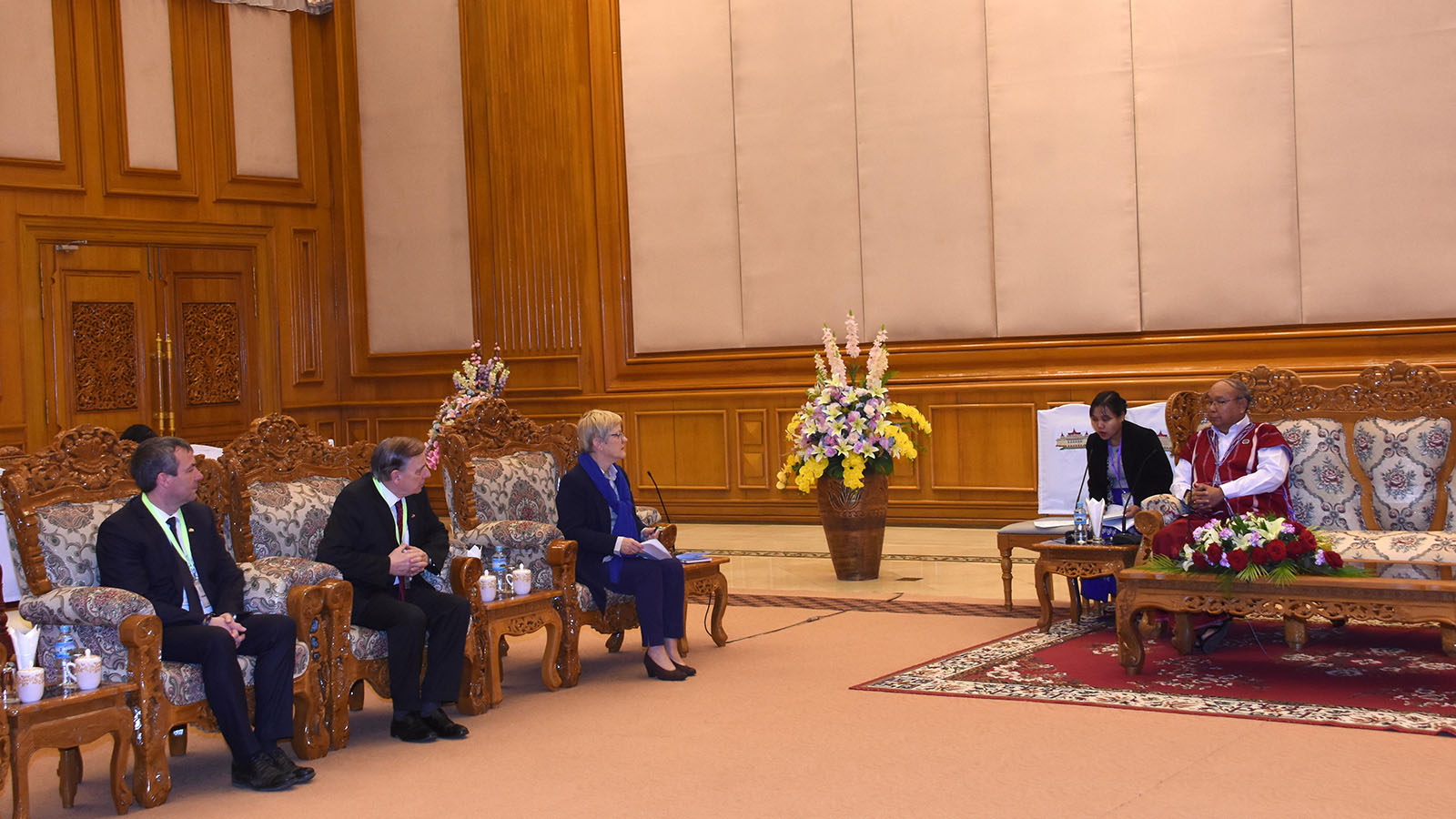 Amyotha Hluttaw Speaker Mahn Win Khaing Than meets with Chair Mrs. Renate Kunast of the German-ASEAN Parliamentary Friendship Group in Nay Pyi Taw yesterday.Photo: MNA