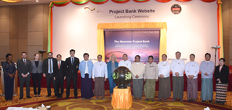 Union Ministers  U Soe Win and Dr Than Myint, officials from GIZ Myanmar and attendees pose for a documentary photo at the launching ceremony of the Myanmar Project Bank in Nay Pyi Taw on 26 February 2020.Photo: MNA