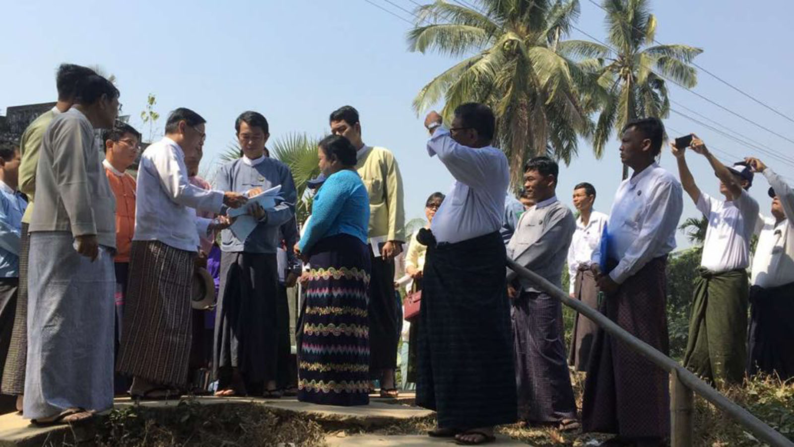 Union Minister Thura U Aung Ko inspects the maintenance work of ancient Fort Danubyu where General Maha Bandoola resisted the British during the First Anglo-Burmese War. Photo: MNA