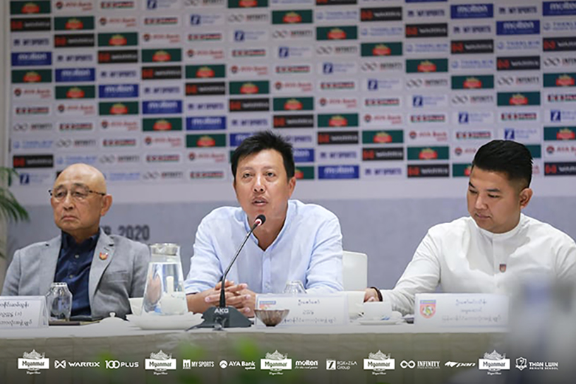 Myanmar Football Federation president U Zaw Zaw (centre) speaking at the MFF executive committee meeting yesterday in Yangon.  Photo: MFF