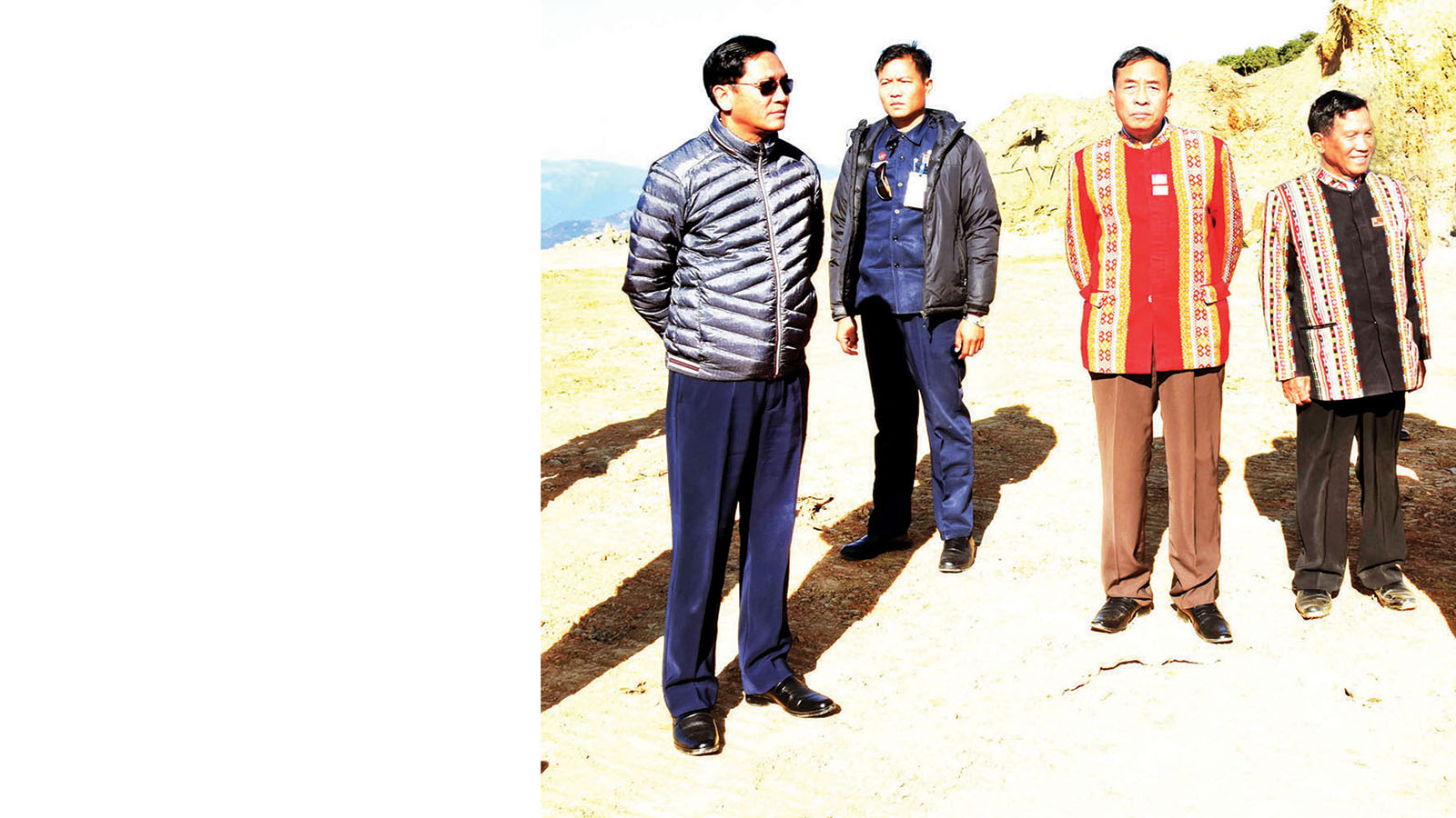 Vice President U Henry Van Thio inspects the construction of the Surbung Airport in Falam Township, Chin State.Photo: MNA