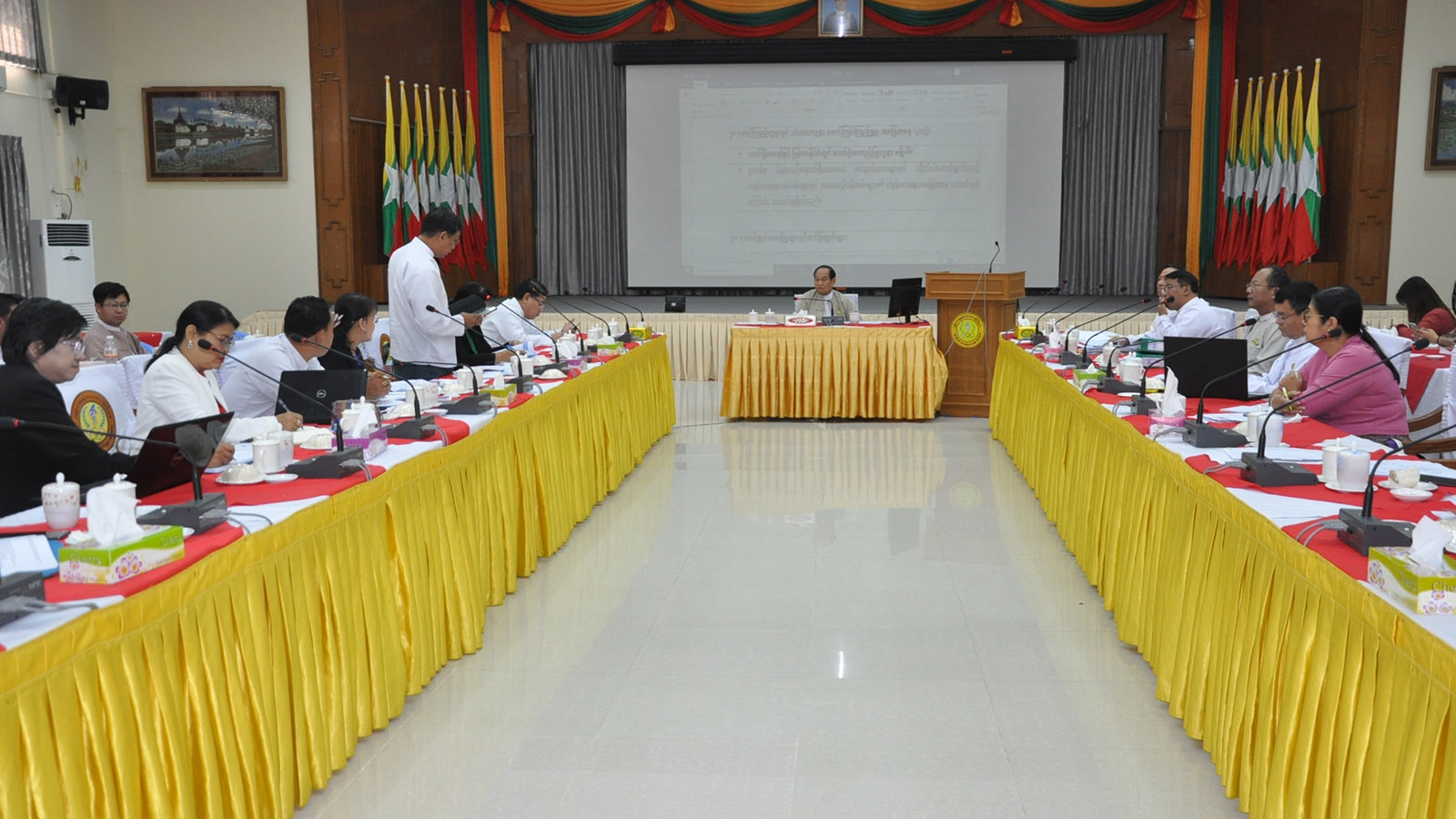 The coordination meeting (11/2020) of Central Committee on Monitoring and Prevention of 2019 Novel Coronavirus held in Nay Pyi Taw yesterday.Photo: MNA