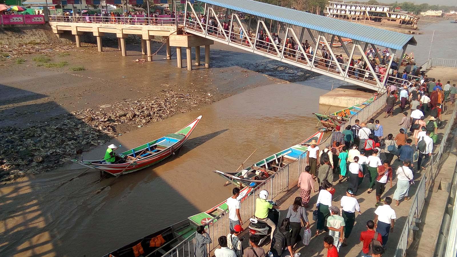 Passengers are seen at the Dala Port. photo:  Naing Lin Kyaw (Dala)