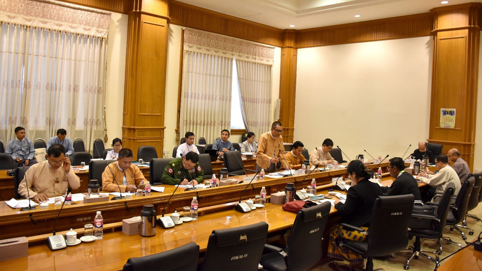 Pyidaungsu Hluttaw Joint Bill Committee holds the meeting in Nay Pyi Taw yesterday.Photo: MNA