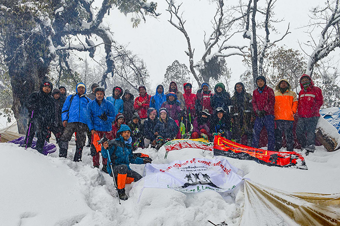 The Meiktila hiking and mountaineering team pose for a group photo near the summit of the Moung Phon Kan Razi on 4 March, 2019. Photo: Chan Tha (Meiktila)