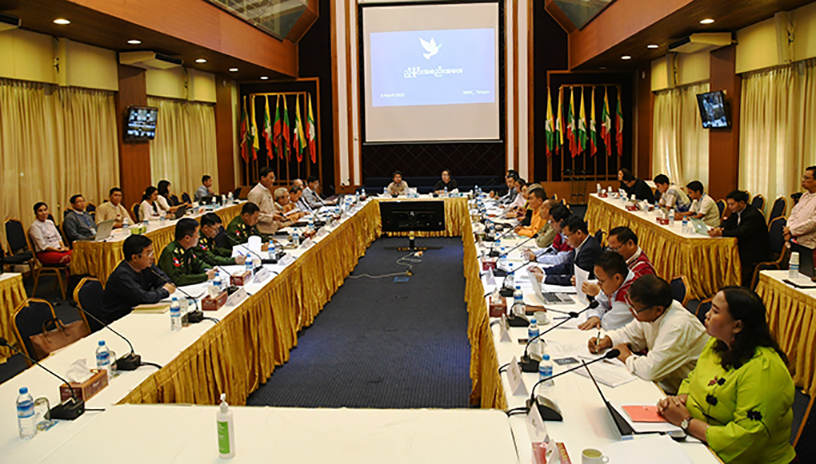 Government and ethnic armed organizations signed the Nationwide Ceasefire Agreement-NCA (NCA-S EAO) hold the work coordination meeting in Yangon yesterday.Photo: Phoe Htaung