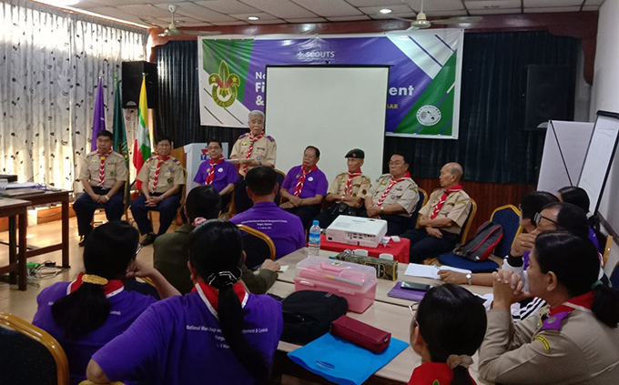 Myanmar Scout Association holds the meeting over its work plans. Photo: msa