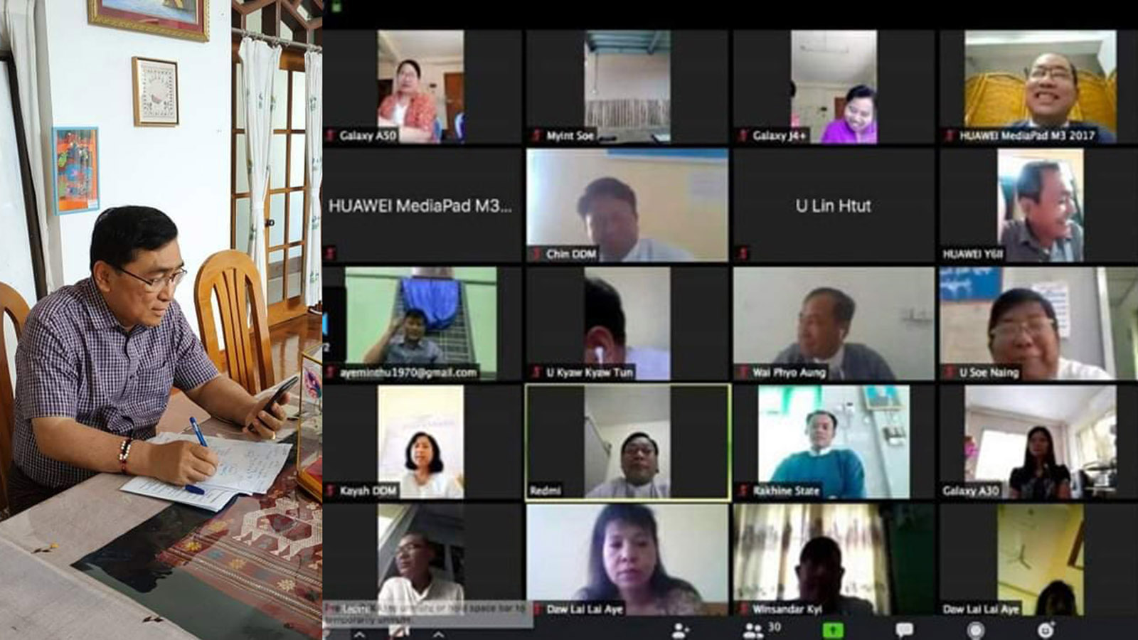 Union Minister Dr Win Myat Aye holds the video conferencing on COVID-19 yesterday. Photo:  MNA