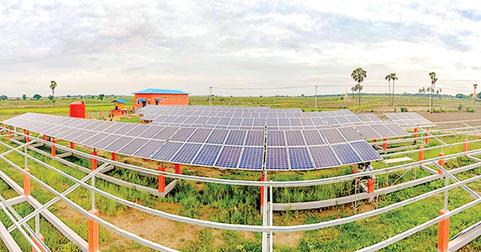 A village in Butalin, Sagaing Region is electrified via solar system. Eight villages between Ayeyawady and Chindwin rivers in Yasagyo Township get access to solar power last year.Photo: Than Lwin (Magway)