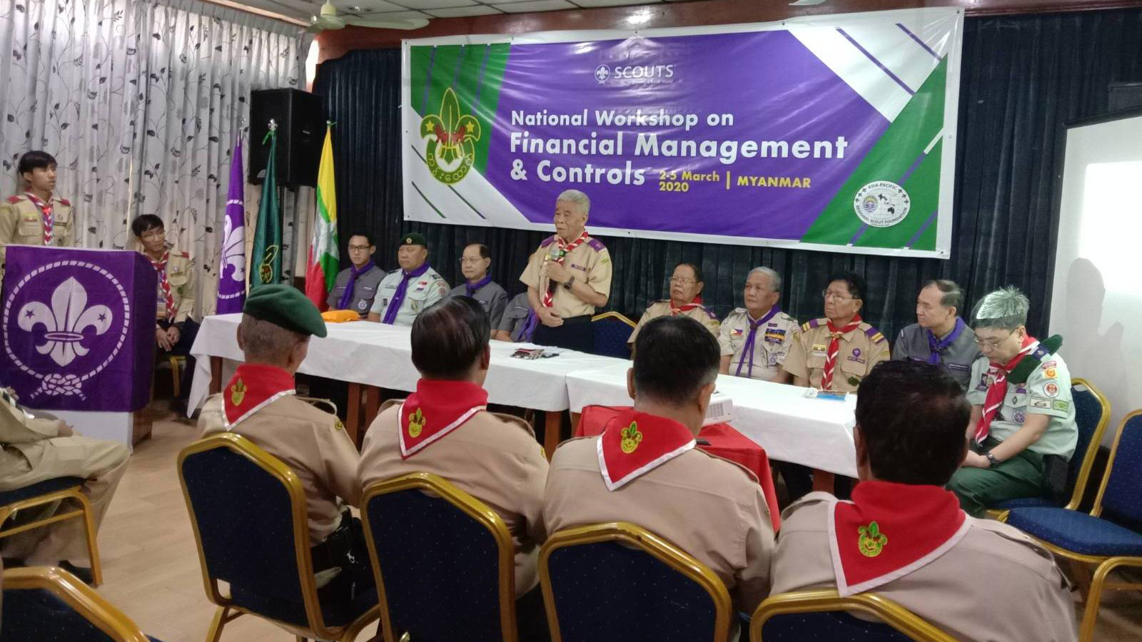 Chief Commissioner of Myanmar Scout Association Dr. Tin Nyo delivers a speech at opening ceremony of National Workshop on Financial Management and Controls.Photo: Supplied