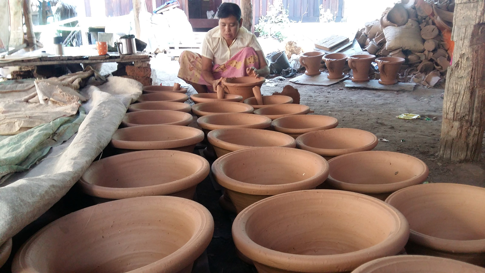 A glazed earthenware workplace is seen in Pathein.Photo: Myint Han (Pathein-IPRD)