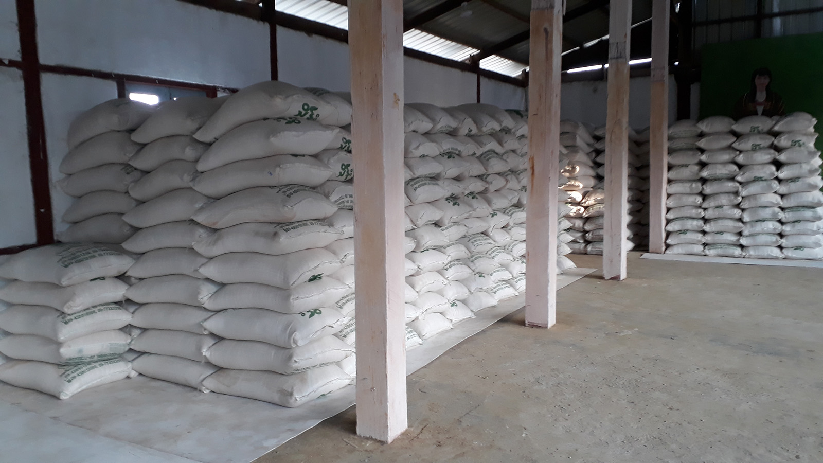 Rice bags sent from Chin State Government are seen in a depot in Tiddim.