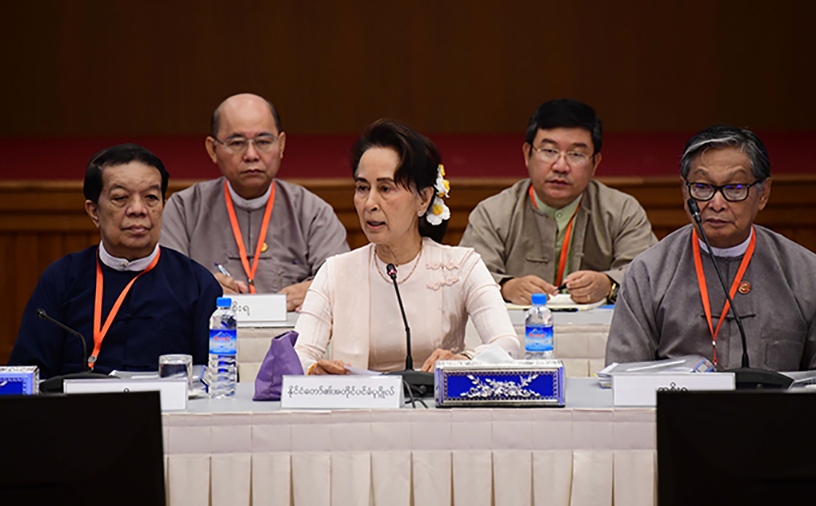 State Counsellor and Chairperson of UPDJC Daw Aung San Suu Kyi delivers the speech at the 18th UPDJC meeting. Photo: mna