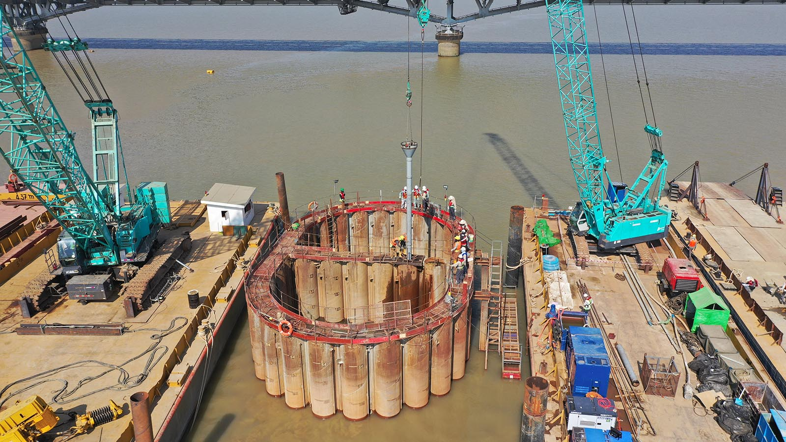 The Bago River-crossing Thanlyin Bridge No. 3 linking Yangon, Thanlyin and Thilawa Special Economic Zone is under construction.Photo: MNA