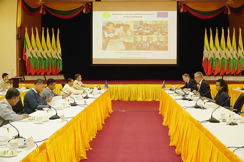 Union Minister Dr Myo Thein Gyi discusses with EU Ambassador Mr Kristian Schmidt on Education Sector Reform Contract Policy Dialogue in Nay Pyi Taw on 23 March.Photo : MNA