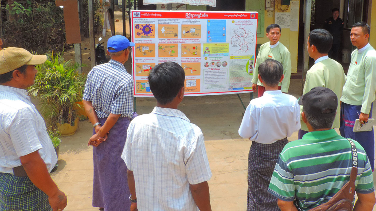 The COVID-19 awareness billboard  being installed at the General Administration Office of Kayin State.Photo: Saw Myo Min Thein (IPRD)