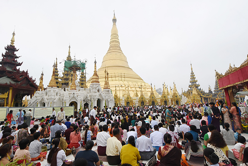 The ceremony to mark 2608th anniversary Tabaung Festival of Shwedagon pagoda being held on the Full Moon Day of Tabaung yesterday.Photo: MNA