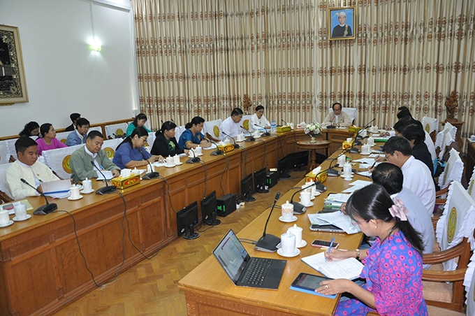 Union Minister Dr Myint Htwe addresses the central-level coordination meeting on  COVID-19 yesterday.Photo:MNA