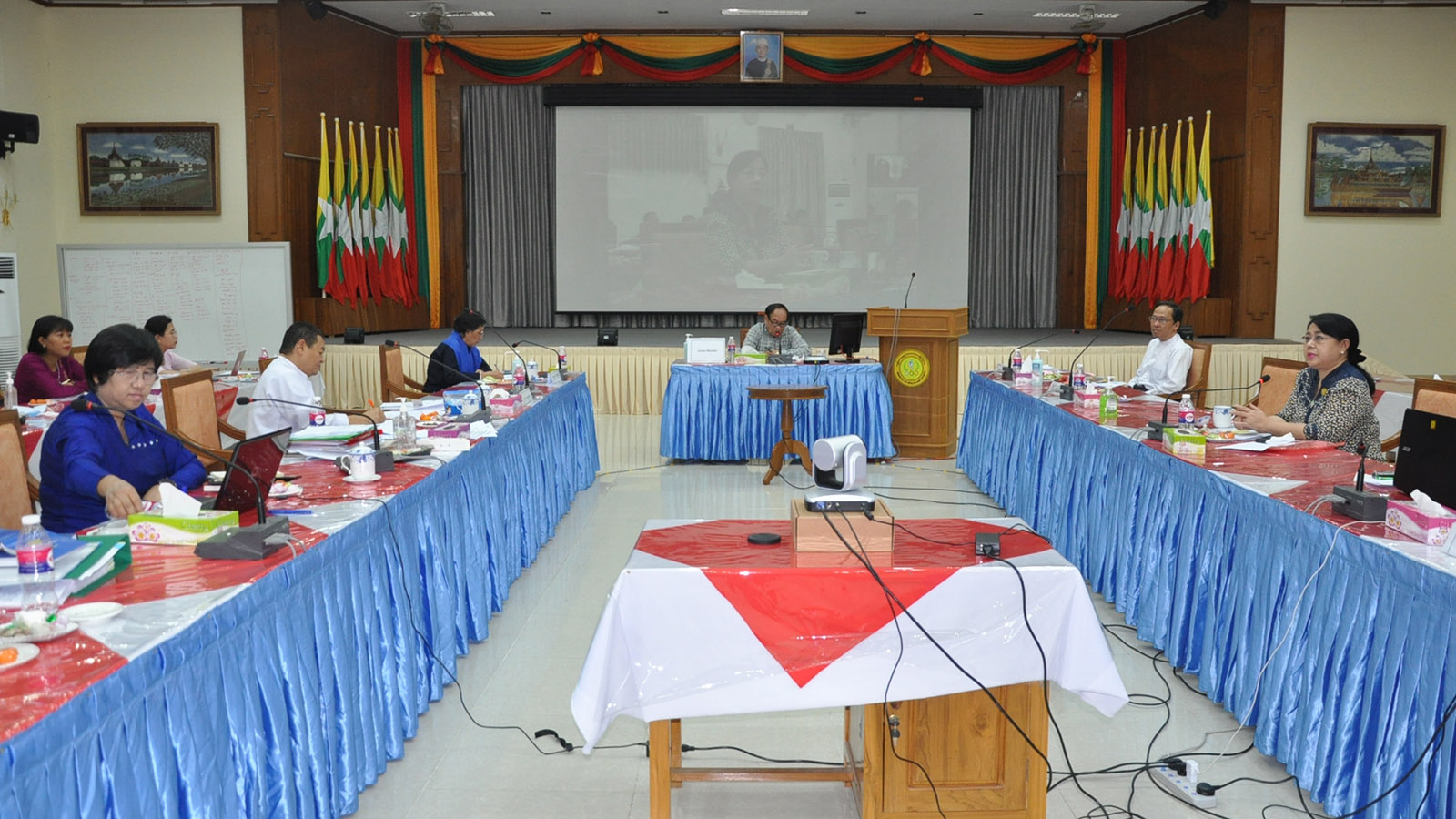 Union Minister Dr Myint Htwe attends the coordination meeting through video conferencing in Nay Pyi Taw yesterday. Photo: MNA