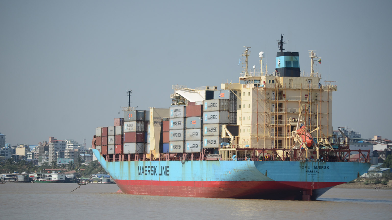 A cargo vessel is seen in the Yangon River.  Photo: Phoe Khwar