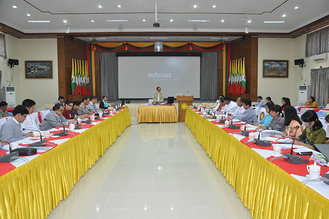 Union Minister for Health and Sports Dr Myint Htwe addresses the 29th daily meeting on prevention of Coronavirus Disease 2019 in Nay Pyi Taw.Photo:MNA