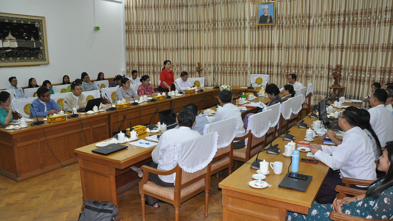 The daily meeting of the Ministry of Health and Sports is in progress at its office in Nay Pyi Taw yesterday. Photo: MNA