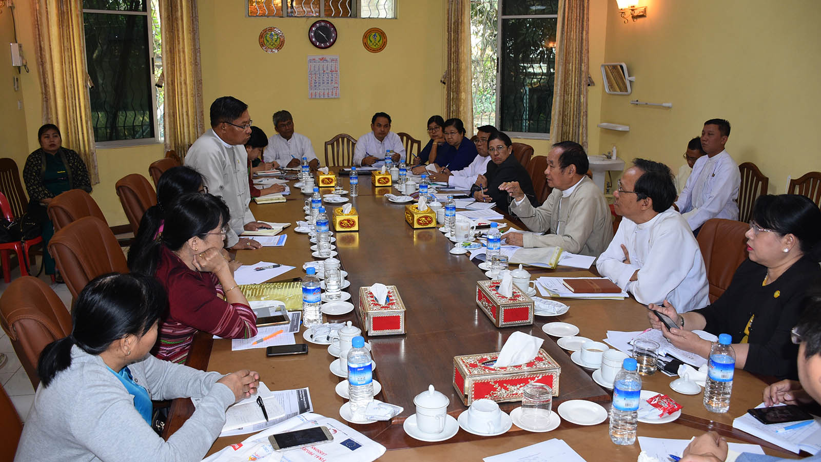 Union Minister Dr Myint Htwe addresses the coordination meeting of health authorities for prevention of COVID-19 in Yangon yesterday.Photo: MNA
