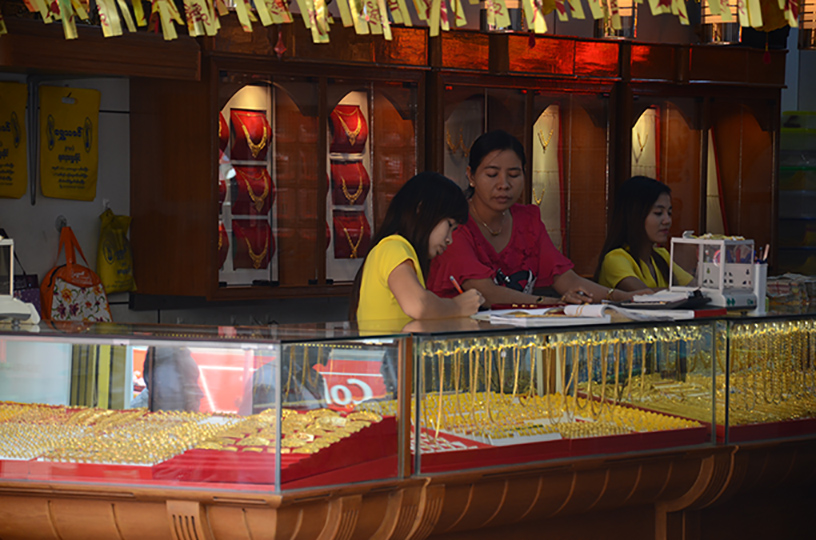 Gold jewellery displayed at a shop in downtown Yangon. Photo: Phoe Khwar