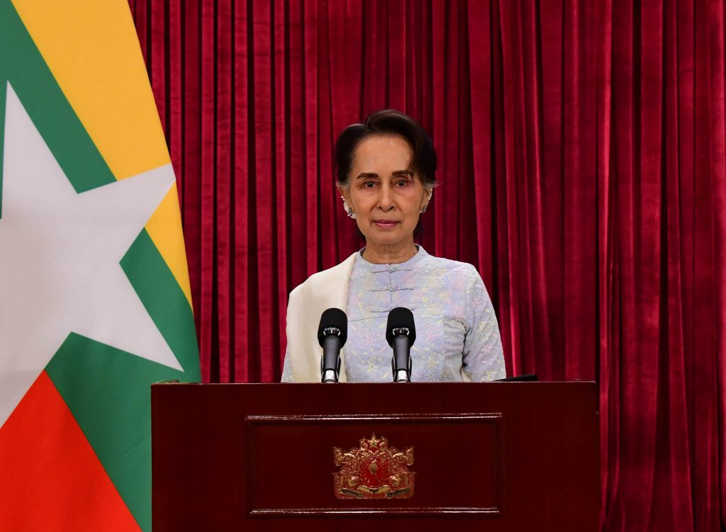 State Counsellor delivers the televised speech on Prevention, Control and Treatment of Coronavirus Disease 2019 (COVID-19).Photo: MNA