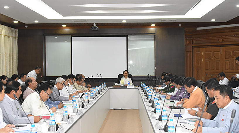 State Counsellor Daw Aung San Suu Kyi delivers the speech at the emergency meeting  on COVID-19 yesterday in Nay Pyi Taw. Photo: mna
