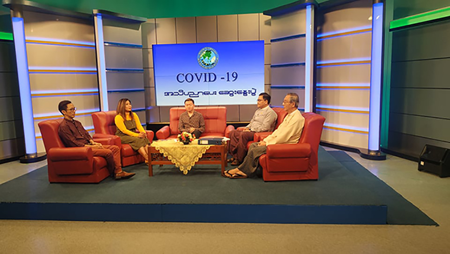 Celebrities hold talks on education at the MRTV's studio in Yangon yesterday. Photo: MNA